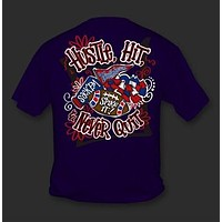 Sweet Thing Funny Hustle Hit Never Quit Football Navy Girlie Bright T-Shirt