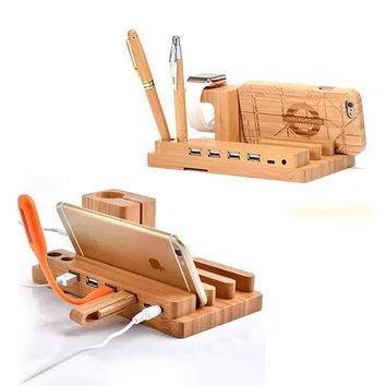 Bamboo Valet Stand For Gadgets With Charger