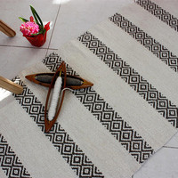 Handwoven organic white rug - handmade of pire eco-friendlky wool , Scandinavian style rug in white and brown, striped white and brown rug