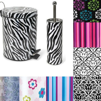 Multiple Designs - Stainless Steel Waste Bin and Toilet Brush Set