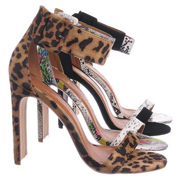 Thalia6 Barely There Thin Wide Block High Heel Sandal -Ankle Strap Open Toe Shoe