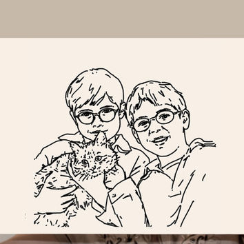 Personalized Digital Portrait Child Illustration Drawing Character Customized Illustration Face Drawing from photos Minimalist Cat Dog lover