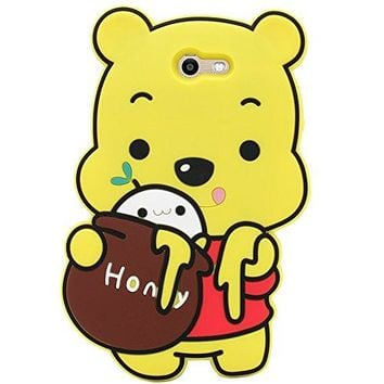 Samsung Galaxy J7 V/J7 2017/J7 Prime/J7 Perx/J7 Sky Pro/Galaxy Halo Case,  3D Cartoon Animal Yellow Bear Soft and Protective Silicone Case (Winnie the Pooh)