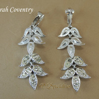 Sarah Coventry Vintage Jewelry Rhinestone Dangle Earrings with Gift Box