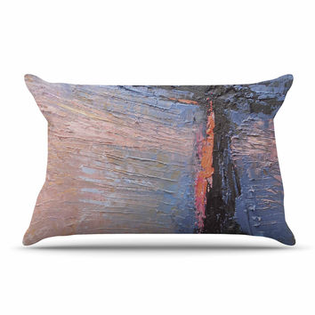 """Carol Schiff """"Coral and Blue"""" Beige Blue Pillow Case"""