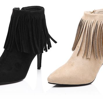 Womens Lovely Fringe Bootie Heels