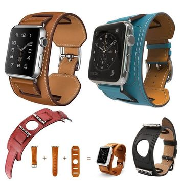 Leather Strap Cuff Bracelet Watch Band For Smart Watch iWatch