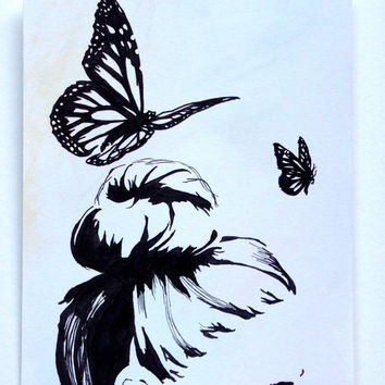 Fine Art Print. 8.5x11 inches. Print from original Pen and Ink Drawing. Light Watercolor wash. Feminine. Butterfly. butterfly art. Wonder.