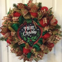 Rustic Christmas Wreath, Country Christmas,  Burlap Christmas Wreath, Rustic Merry Christmas, Holiday Wreath, Front Door Christmas, Rustic