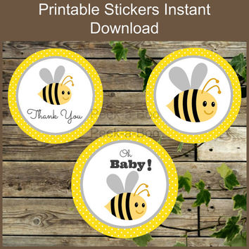 Round Yellow Bee Thank You Round Stickers /Favor Tag Label / Instant Download Party Decoration Printable Label / Cupcake Topper