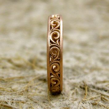 Handmade Wedding Ring in 14K Rose Gold by AdziasJewelryAtelier