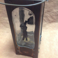 Vintage Musical Liquor Decanter - Brass and Glass With Man Woman Silhouettes - Plays How Dry I Am