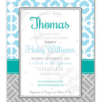 Blue, Turquoise and Grey Printable Baby Girl Shower Invitation