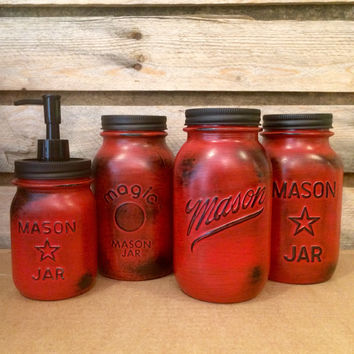 Vintage Red Mason Jar Canisters, Rustic Red Canister Set, Distre