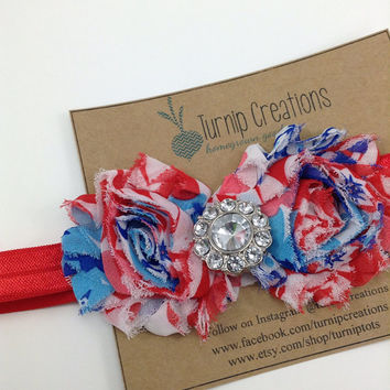 4th of July Headband Red White & Blue Shabby Flower Patriotic Star USA Photo Prop