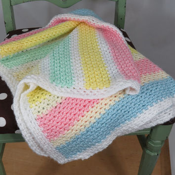 "Crochet Striped Baby Afghan Blanket . White Pink Blue Yellow Green . Vintage Baby . 32"" x 42"""