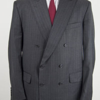 Vintage Mens Aquascutum Double Breasted Pinstripe Jacket Grey Wool Blazer 46R