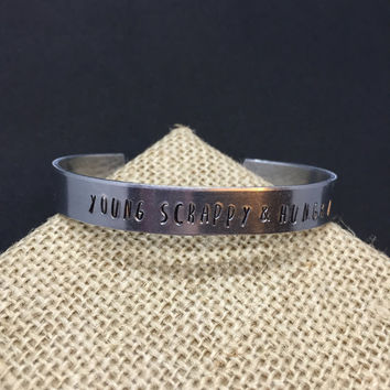 Young, Scrappy & Hungry Hamilton hand stamped cuff bracelet