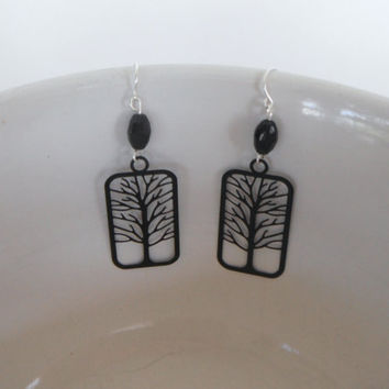 Black Tree Silhouette Earrings Dangle Gift fashion under 20