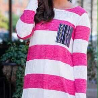 White & Pink Striped Long Sleeve Shirt