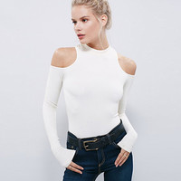 Long Sleeve Cold Shoulder Tight Blouse