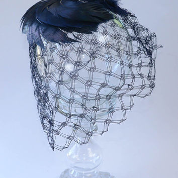 Dark Vintage Hat with Veil and Feathers Blue Black