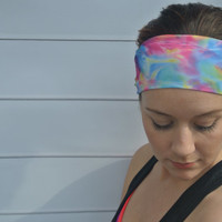 Tie Dye Boho Yoga Workout Headband Sweat Crossfit Band Pilates Accessories