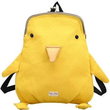 Lovely Style Velvet Shape Yellow Shoulder Bag Backpack