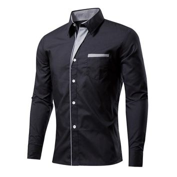Plus Size Men Fashion Color Patchwork Shirts Business Formal Long Sleeve Turn-down Collar Male Shirt Slim Fit Anti Wrinkle Shirt