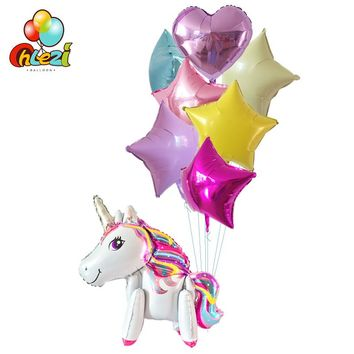 8pcs Rainbow Unicorn Foil Balloons Baby Shower 18 inch star heart balloon Birthday wedding party decor supplies globos kids toys