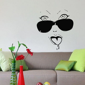 Wall Vinyl  Decal Sticker  Fashion Girl face in Glasses Art Design Room Nice Picture Decor Hall Wall Chu427