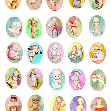 vintage kewpie doll clip art Collage sheet 30mm x 40mm oval cameo digital image download pendants graphics printable