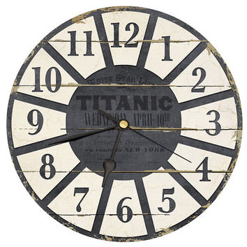 Tarnished Titanic Clock. Shabby chic style wall clock in Red Grey And Cream shades. 8 Inch Diameter