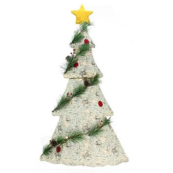 "42"" Lighted 2-D Country Rustic Birch Christmas Tree Decoration - Clear Lights"