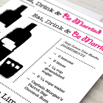 Printable Eat Drink Be Married Cocktail Party Recipe Cards - Nutty Lemon Lime Rumba