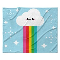 "KESS Original ""Mr. Rainbow"" Multicolor Kids Fleece Throw Blanket"