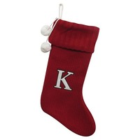 Holiday Knit Monogram Stocking Red K 19""