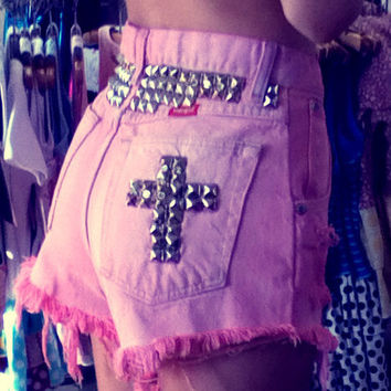 EXTREME SALE Upcycled Pink Cross Studded Denim Shorts