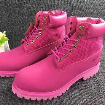 Timberland Rhubarb Boots 10061 Pink For Women Men Shoes Waterproof Martin Boots