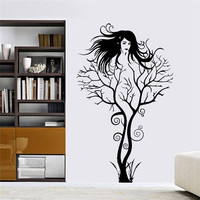 creative sexy girl fairy branch wall decals for bedroom removable home decoration tree stickers diy vinyl art black SM6