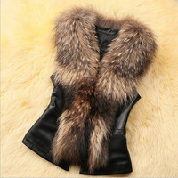 New women fashion  raccoon fur collar vest short paragraph /autumn and winter wome'n's leather vest fur coat grass = 1932268804