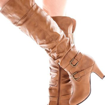 TAN FAUX LATHER BUCKLE DESIGN KNEE HIGH HIGH BOOT
