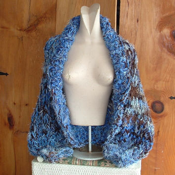 "Shawl collar shrug super chunky knit long sleeve cardigan sweater women medium large  ""Earth and Sky"" yarn painting"