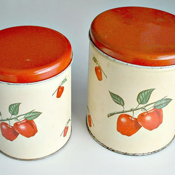 Vintage Decoware Apple Canisters Metal Red Green Set of 2  Mid Century