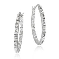Sterling Silver Inside Out CZ Oval Hoop Earrings