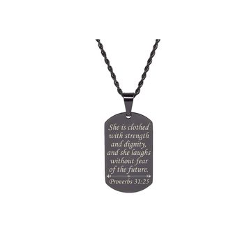 Scripture Tag Necklace  - Proverbs 31:25