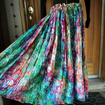 Vintage Broomstick Skirt Gauze Drawstring Dangle Bells Hippie Psychedelic Foliage One SIze