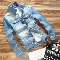 Slim Trendy Male Denim Jacket Autumn Spring
