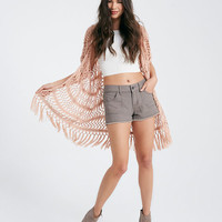 Crocheted Kimono With Fringe Trim | Wet Seal