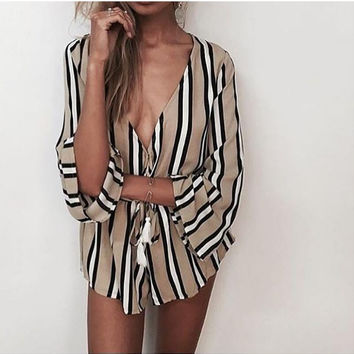 Khaki Striped V-Neck Drawstring Romper